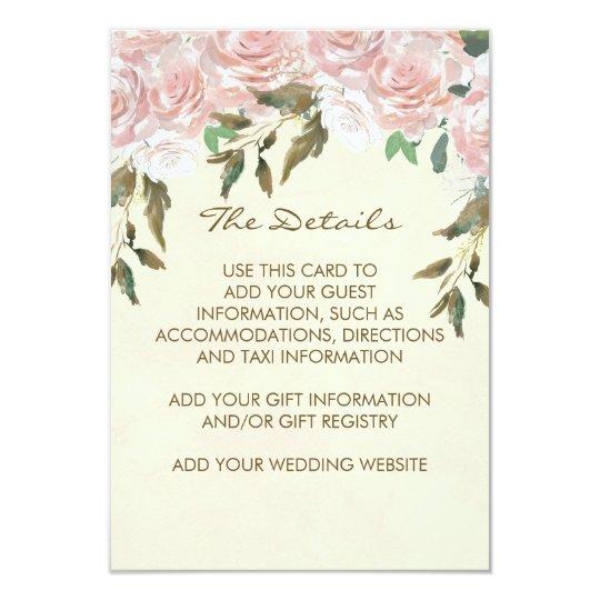 pink floral wedding information details reception card