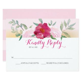 Pink Floral Wedding Invite RSVP Card