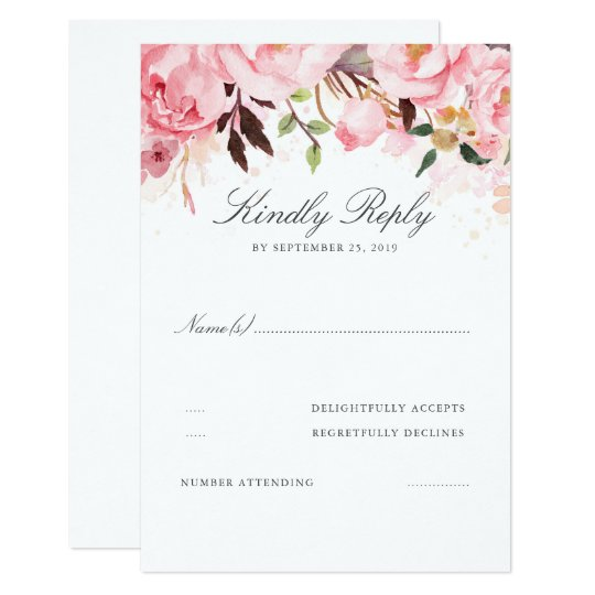 Pink Floral Wedding RSVP Card