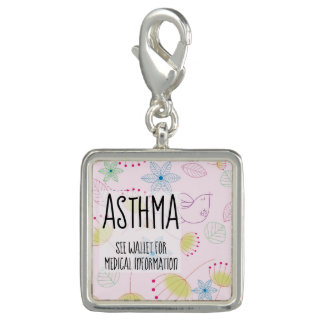 Pink Floral Whimsy Asthma ID Charm