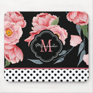Pink Floral with Polka Dots and Monogram Mouse Pad
