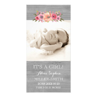 Pink Floral Wood Photo Baby Birth Announcement Card