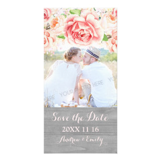 Pink Floral Wood Save the Date Wedding Photo Photo Greeting Card