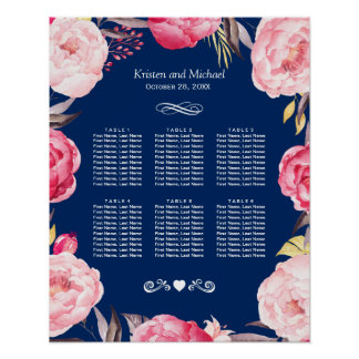 Pink Floral Wreath 6 Tables Wedding Seating Chart Poster
