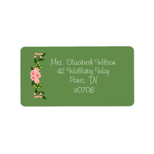 Pink Floral Wreath Address Labels
