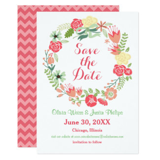 """Pink Floral Wreath - Save the Date 5"""" X 7"""" Invitation Card"""