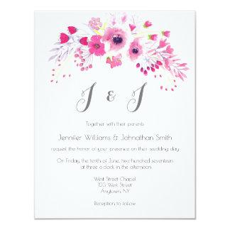 Pink floral wreath wedding invitations