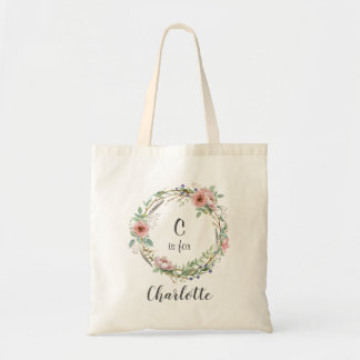 Pink Floral Wreath with Name Tote Bag