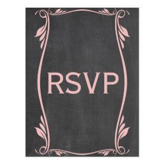Pink Flourish Chalkboard RSVP Postcard