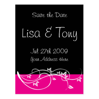 Pink Flourish Save The Date - Customized Postcard