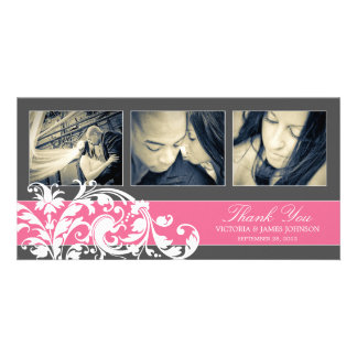 PINK FLOURISH | WEDDING THANK YOU CARD CUSTOM PHOTO CARD