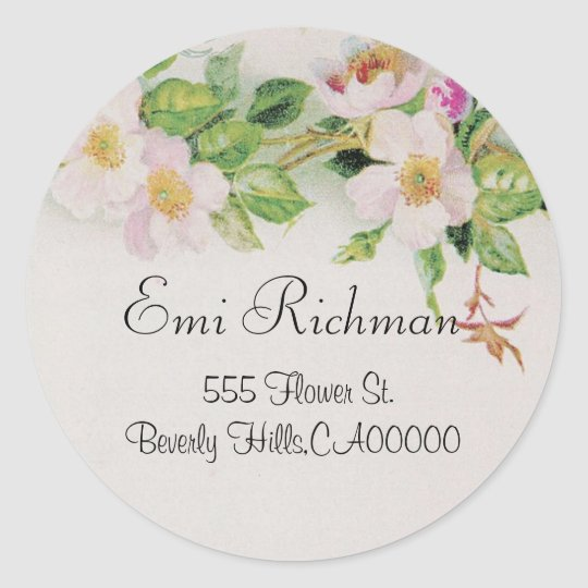 Pink Flower Address Sticker