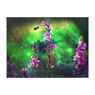 Pink Flower and Bee Against the World Canvas Print