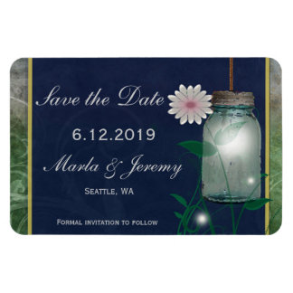 Pink flower and mason jar save the date rectangular photo magnet