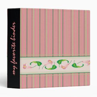 Pink Flower and Stripes Planner Binder