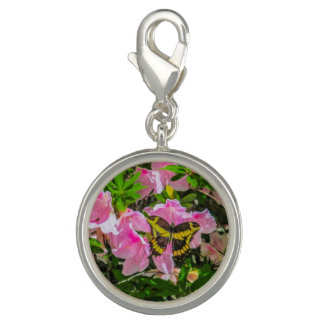 Pink Flower and the Butterfly Charm