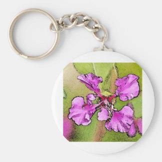 Pink Flower Basic Round Button Keychain