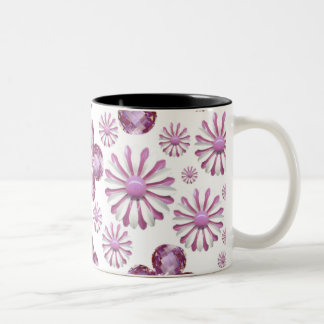PINK FLOWER BLING COFFEE CUP