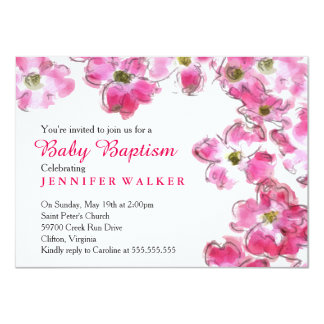 Pink Flower Blossoms Baby Baptism Dedication Card