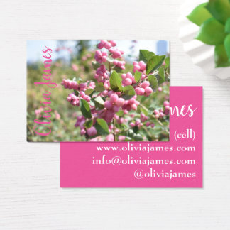 Pink Flower Blossoms NYC Skyline Nature Photo Business Card