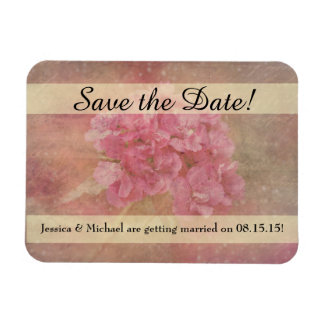 Pink Flower Bouquet Save the Date Rectangular Photo Magnet