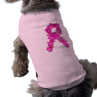 Pink Flower Breast Cancer Awareness Ribbon Dog Tee