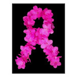 Pink Flower Breast Cancer Awareness Ribbon Print