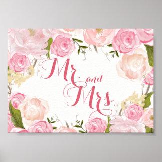 pink flower bridal shower SIGN Mr. and Mrs.