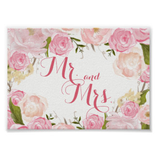 pink flower bridal shower SIGN Mr. and Mrs. Poster