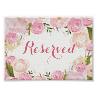 pink flower bridal shower SIGN Poster