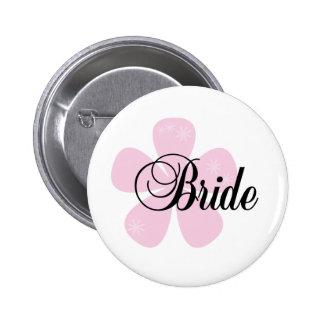 Pink Flower Bride Pinback Button