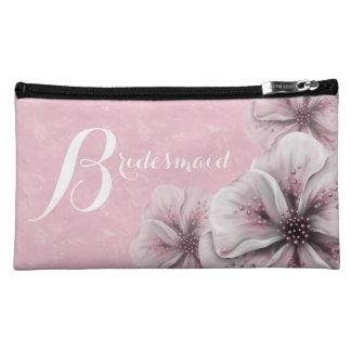 Pink Flower Bridesmaid Makeup Bags