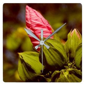 Pink Flower Bud Floral Garden Photo Clock