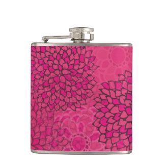 Pink Flower Burst Hip Flask
