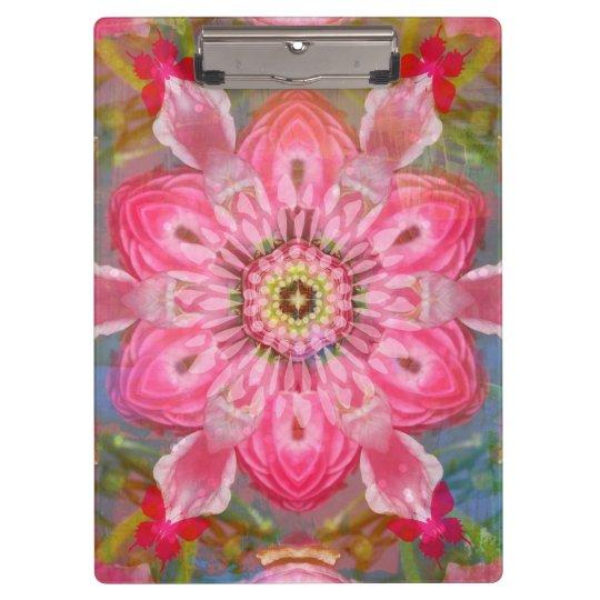 Pink Flower Butterfly Mandala Clipboard