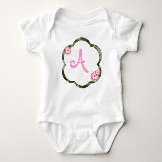 Pink Flower Camo Infant Creeper, White Baby Bodysuit