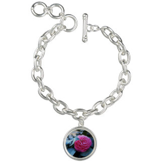 pink flower charm bracelet