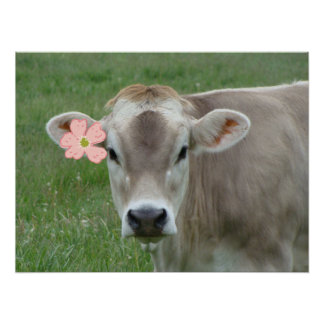 Pink Flower Child Jersey Cow Poster