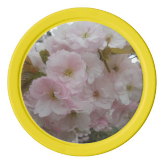 Pink Flower Clay Poker Chips, Yellow Solid Edge Poker Chips