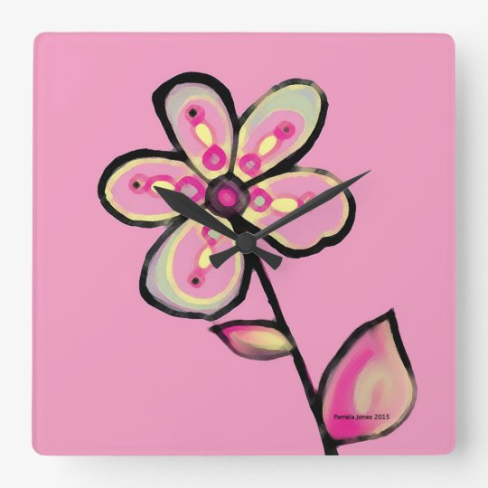 Pink Flower Clock
