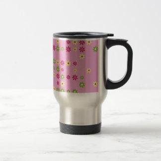Pink Flower Confetti Travel Mug