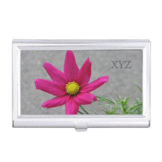 Pink Flower custom monogram business card holder