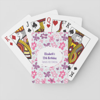 Pink Flower Cute Whimsical Pattern Birthday Thanks Playing Cards