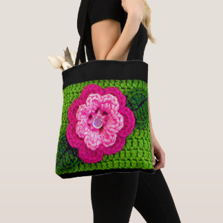 Pink Flower Dew Drop Fresh Spring Green Crochet Tote Bag