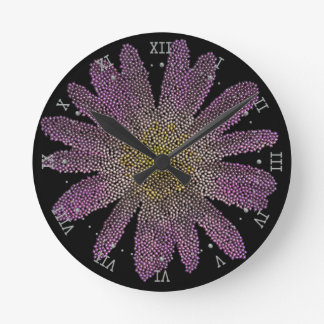pink flower ( digital image ) round clock