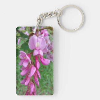 Pink Flower Double-Sided Rectangular Acrylic Keychain
