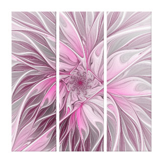 Pink Flower Dream, floral Fantasy Pattern Triptych Canvas Print