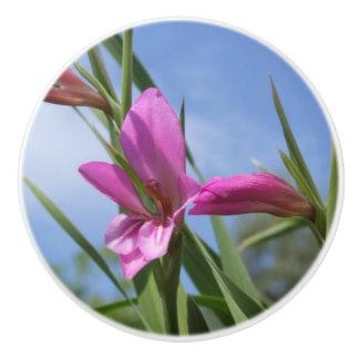 Pink Flower Dresser Knob Ceramic Knob