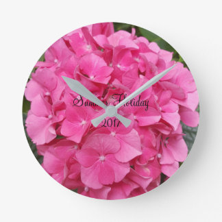 Pink Flower Floral Photography Nature Round Clock