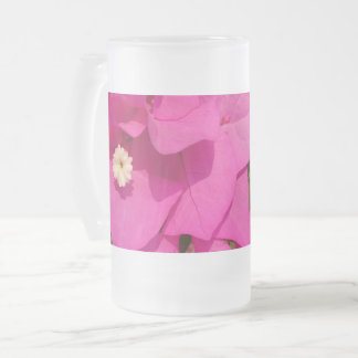 Pink Flower Frosted 16 oz Frosted Glass Mug